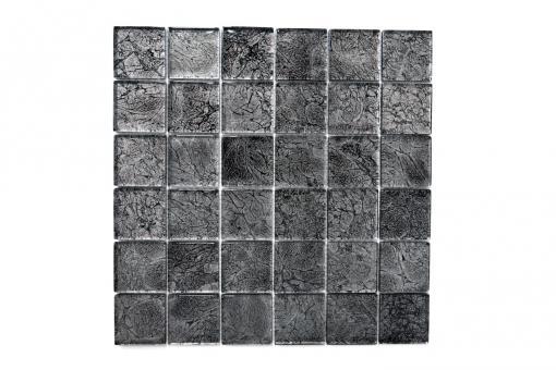 Mosaikmatte Quadrat Crystal uni schwarz Struktur Steinmaße: 48 x 48 x 8 mm