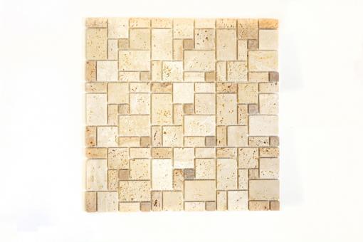 Mosaikmatte Kombination Travertin mix beige