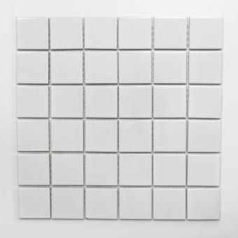 Mosaikmatte Quadrat uni weiß glänzend