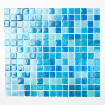 Mosaikmatte Quadrat mix hellblau/blau papierverklebt