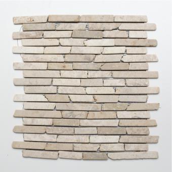 Mosaikmatte Brick uni Biancone