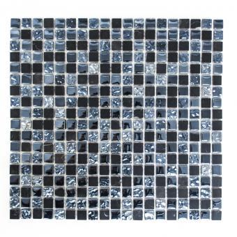 Mosaikmatte Quadrat Crystal/Stein mix grau/schwarz